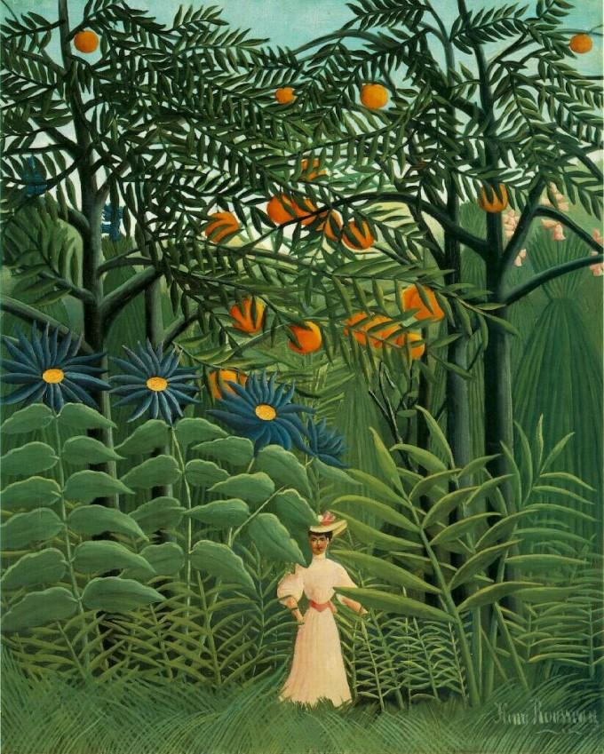 Woman Walking in Exotic Forest Henri Rousseau