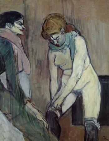 Toulouse Lautrec-Femeie tragandu-şi ciorapii